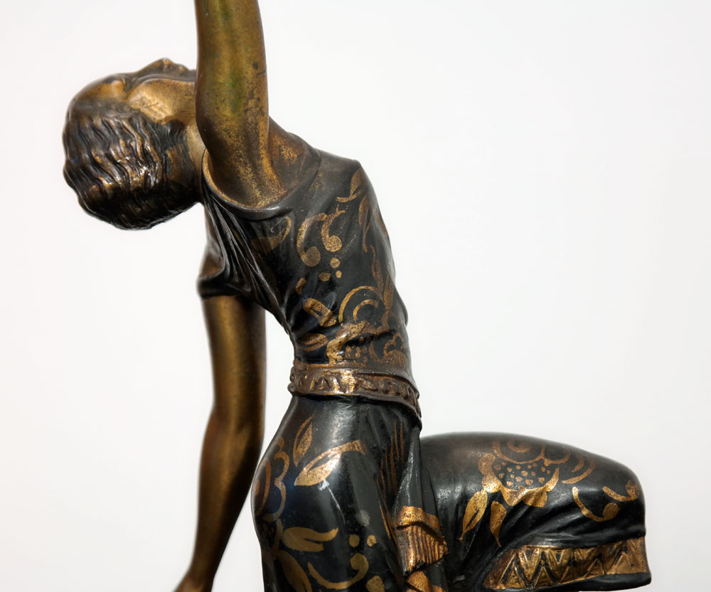 Original 1930s French Art Deco Lady Sculpture Lamp By